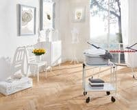 LEIFHEIT Folding White Food and Drink Serving Trolley Cart